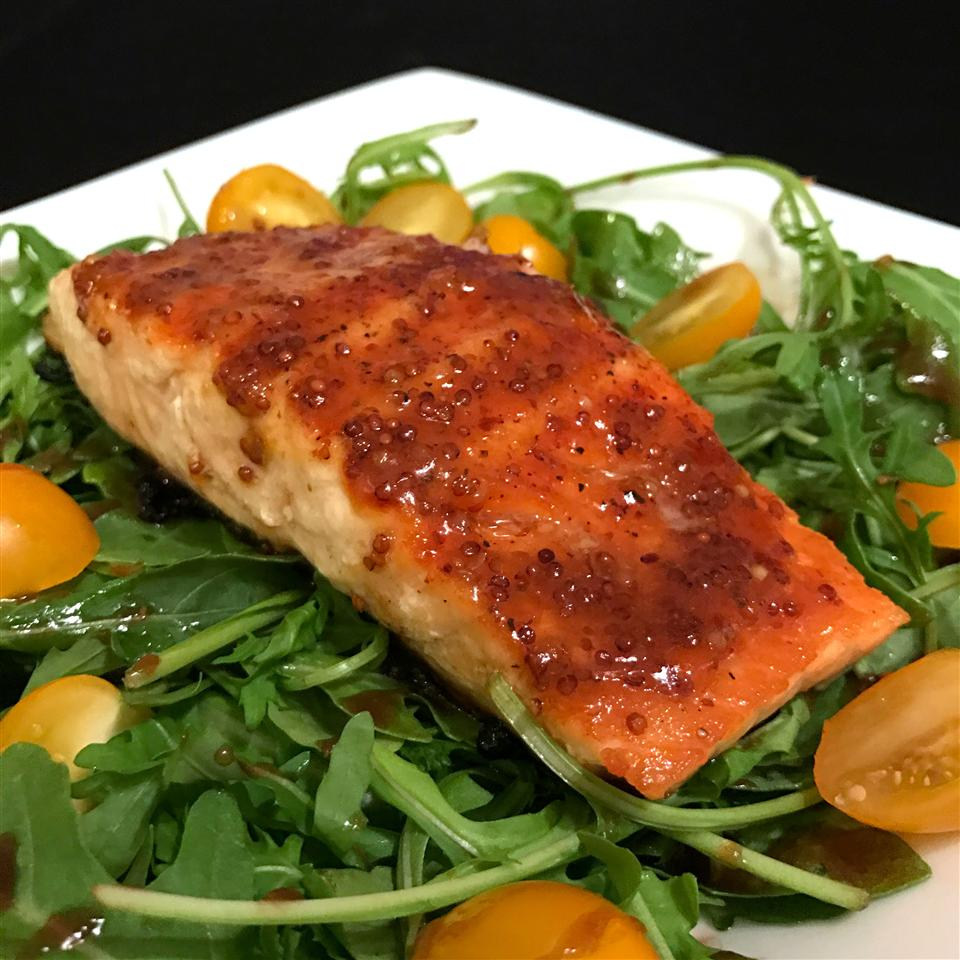 Apricot Mustard-Glazed Salmon with Arugula Happyschmoopies