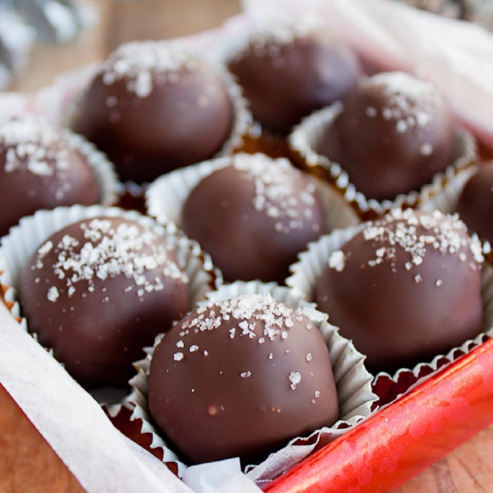 Salted Dark Chocolate Hazelnut Caramel Truffles
