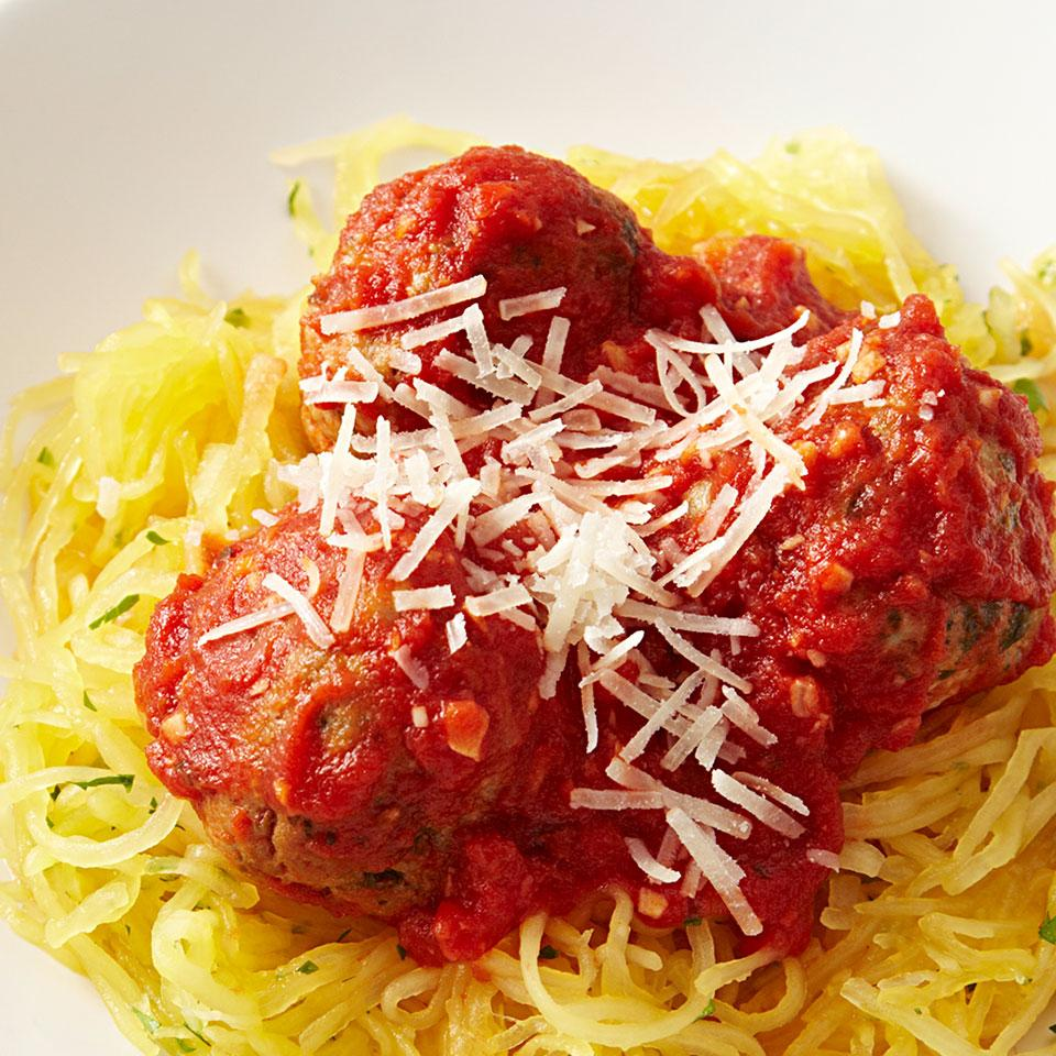 With this spaghetti squash and meatballs recipe, you can reduce the carbohydrates and increase the vegetable servings by skipping pasta and serving the Italian-seasoned turkey meatballs and quick, homemade marinara sauce over thin strands of cooked spaghetti squash instead. Cooking the squash first in the microwave and then in a skillet to cook off the extra moisture, gives the squash a more spaghetti-like texture.