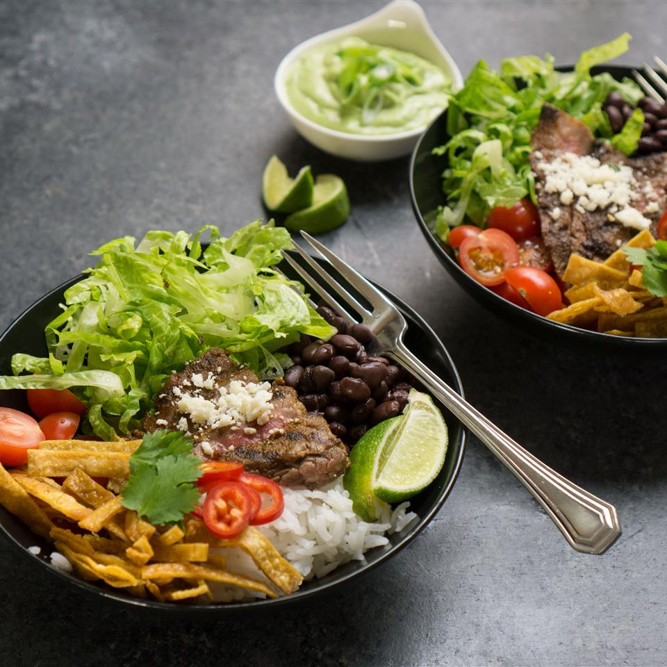 Tex-Mex Beef Bowl with Avocado Cilantro Dressing Amanda Frederickson