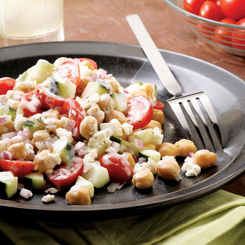 Feta cheese and chickpeas lend a Mediterranean flair to this satisfying side salad. The Creamy Dill Ranch is great with it, but would also be good with a tangy vinaigrette. Source: EatingWell Magazine, March/April 2007