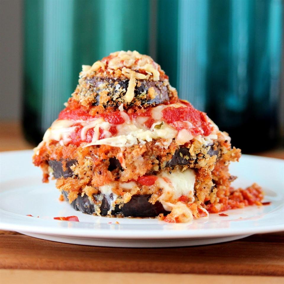 In this recipe, the eggplant is baked, not fried, which cuts down on some of the calories. To save even more guilt, you could use skim-milk mozzarella.