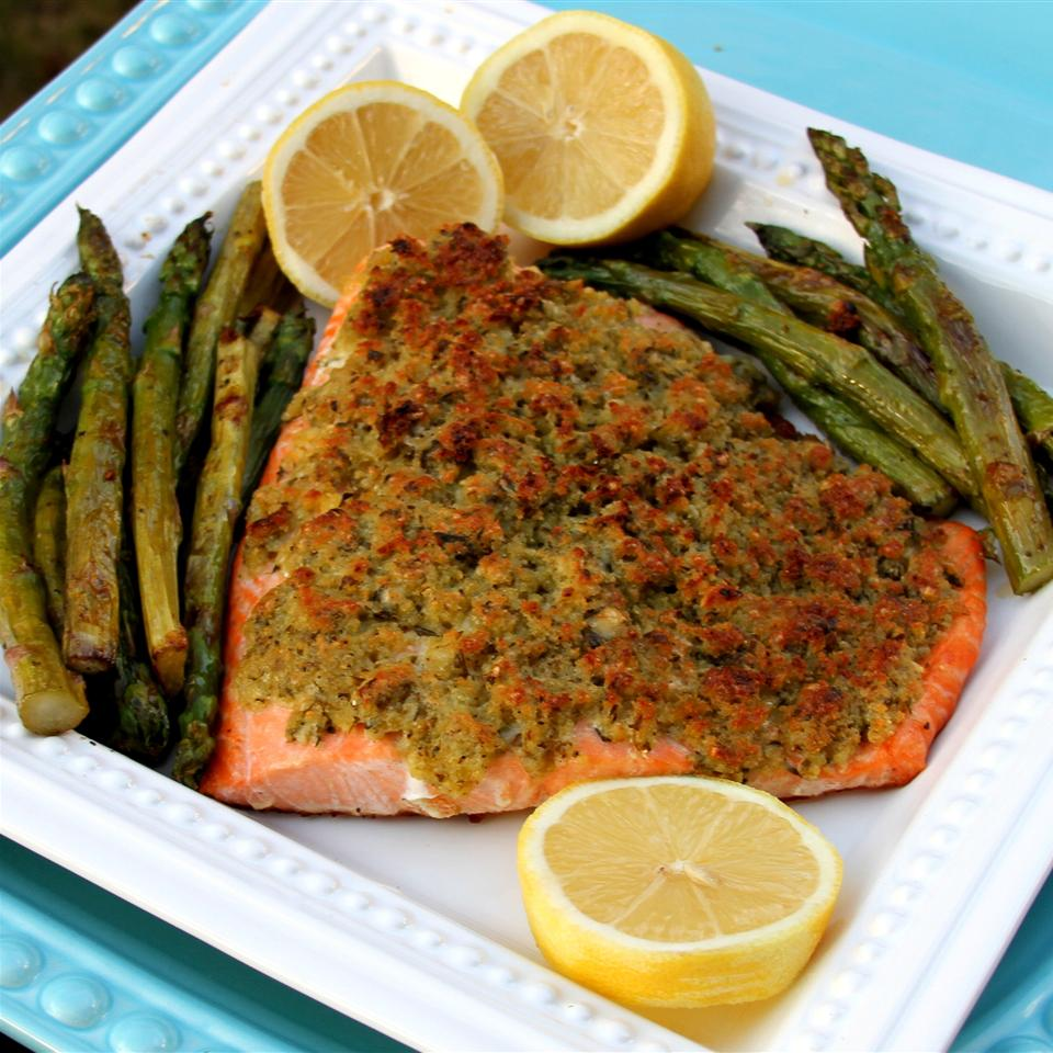 Baked Salmon with Basil and Lemon Thyme Crust