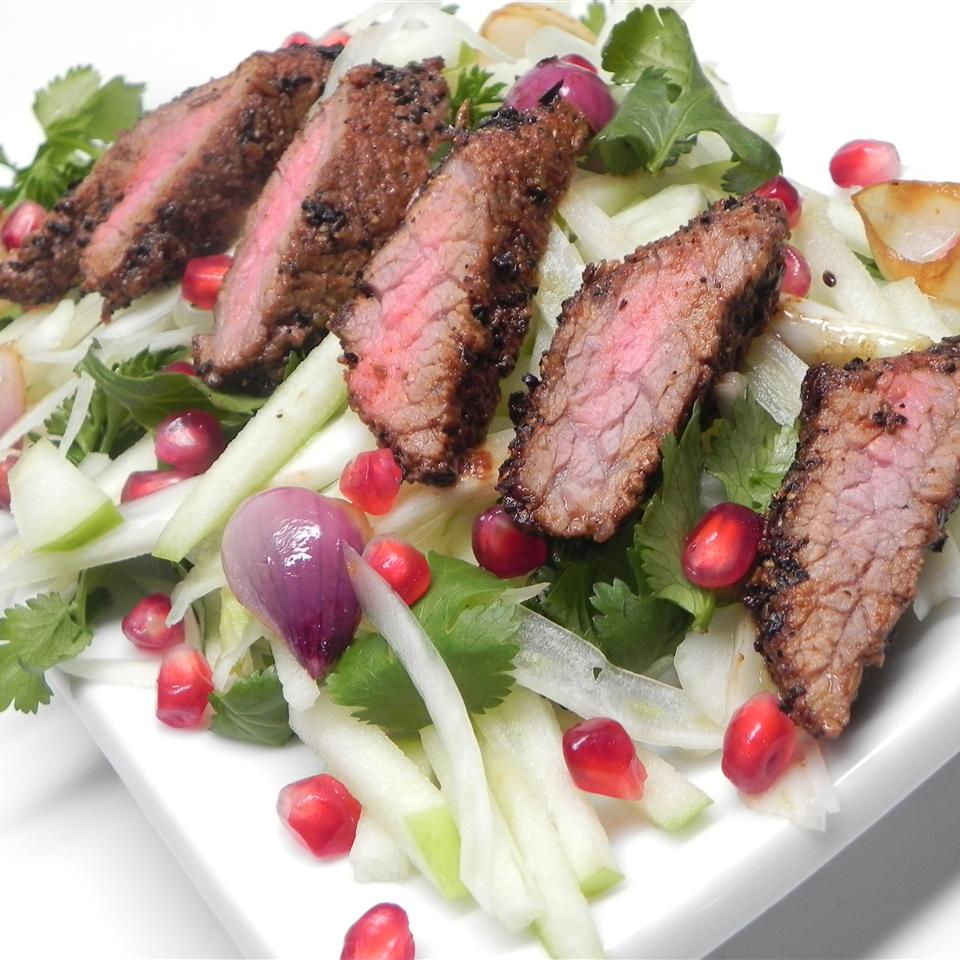 Gabe's Coffee-Crusted Hanger Steak with Apple, Fennel, and Herb Salad