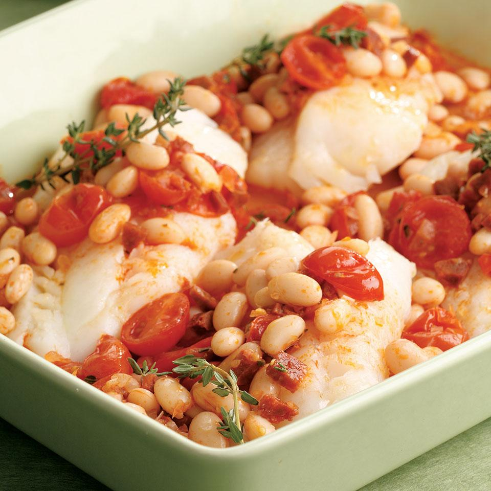 Baked Cod with Chorizo & White Beans EatingWell Test Kitchen