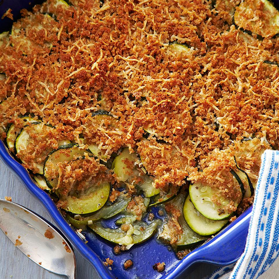This delicious zucchini gratin recipe has a delectable crispy Parmesan and breadcrumb topping and is made without any butter or cream, allowing the fresh zucchini flavor to shine. Slice the zucchini uniformly to ensure even cooking. Source: EatingWell Magazine, July/August 2013