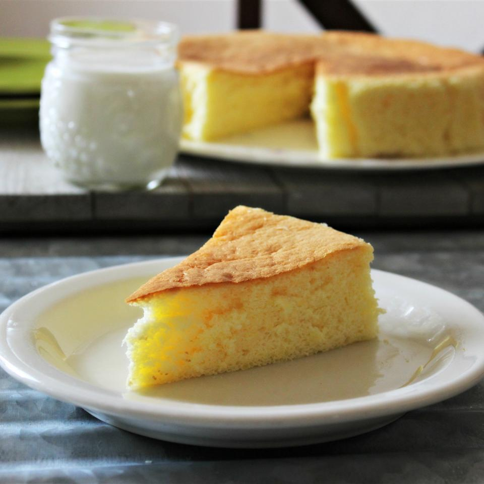 "Here's a light and spongy Japanese cheesecake made with cream cheese, eggs, and a hint of cornstarch. ""This cheesecake is good plain, with fresh fruit topping, or you can even frost it,"" says lisamarie."