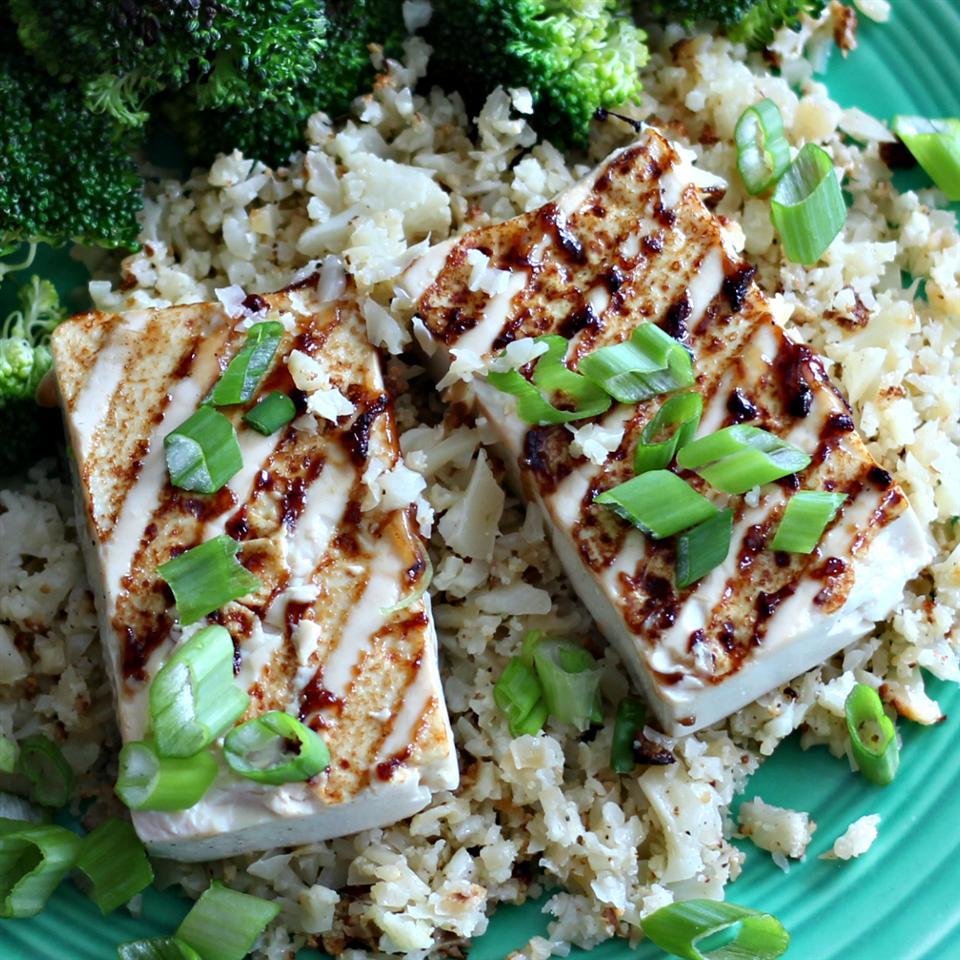 Grilled Teriyaki Tofu with Roasted Cauliflower Rice duboo