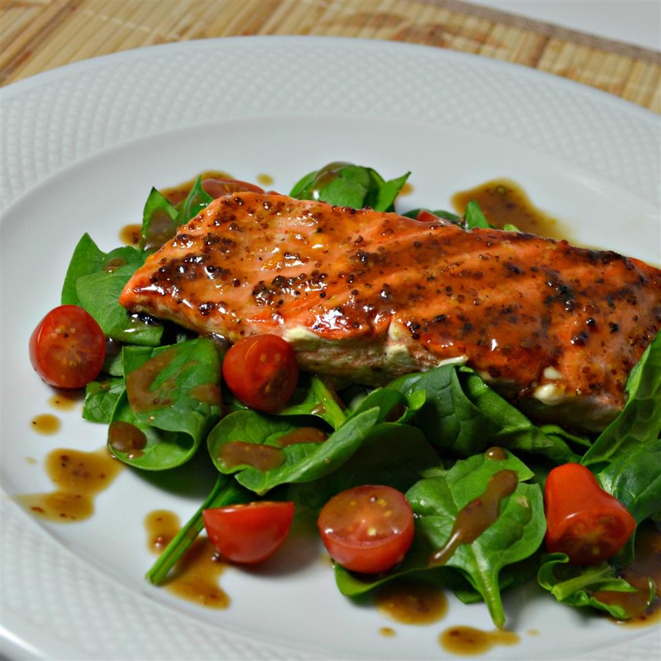 Apricot Mustard-Glazed Salmon with Arugula Kim's Cooking Now