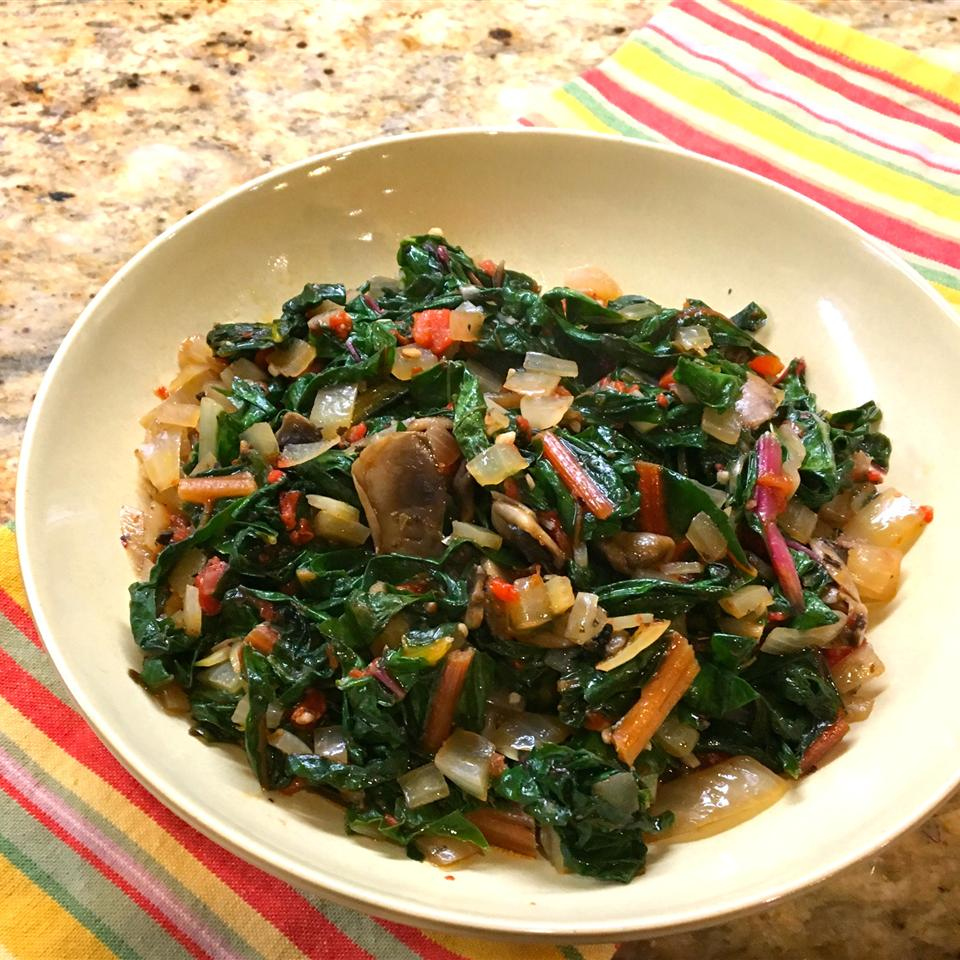 Sauteed Swiss Chard with Mushrooms and Roasted Red Peppers