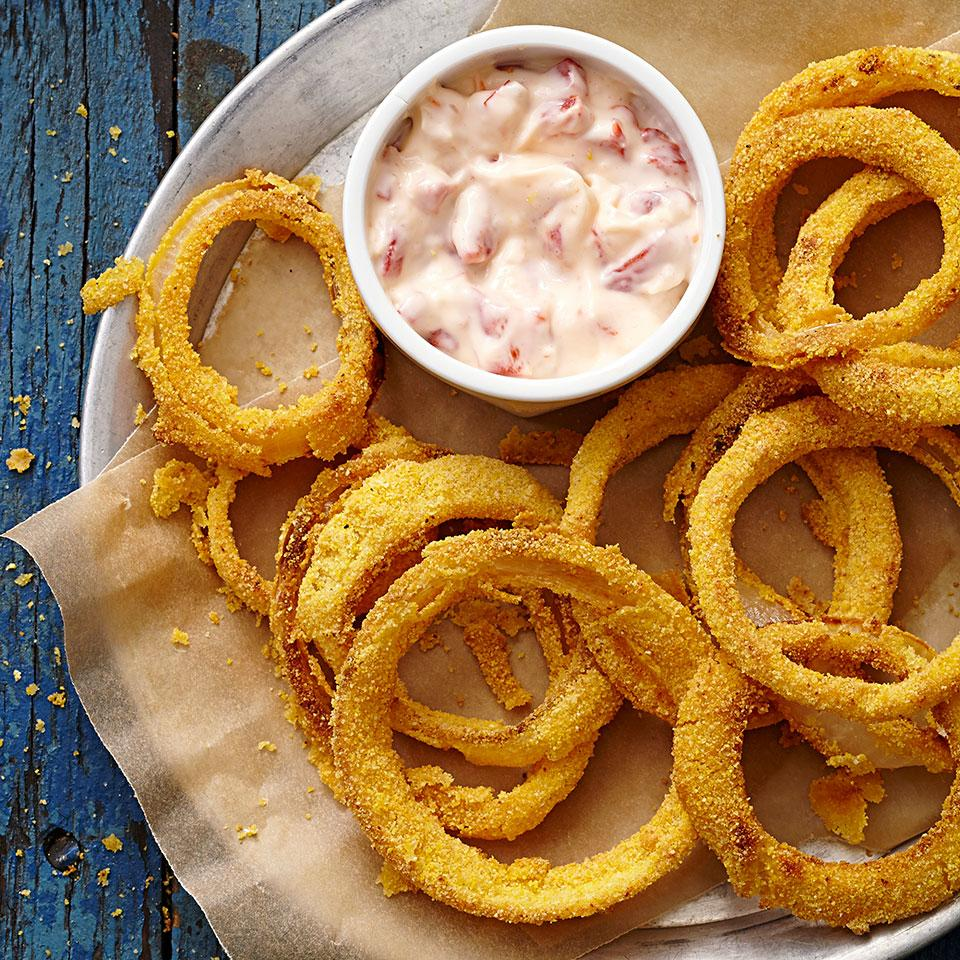 Beer-Battered Onion Rings with Roasted Pepper Aioli EatingWell Test Kitchen