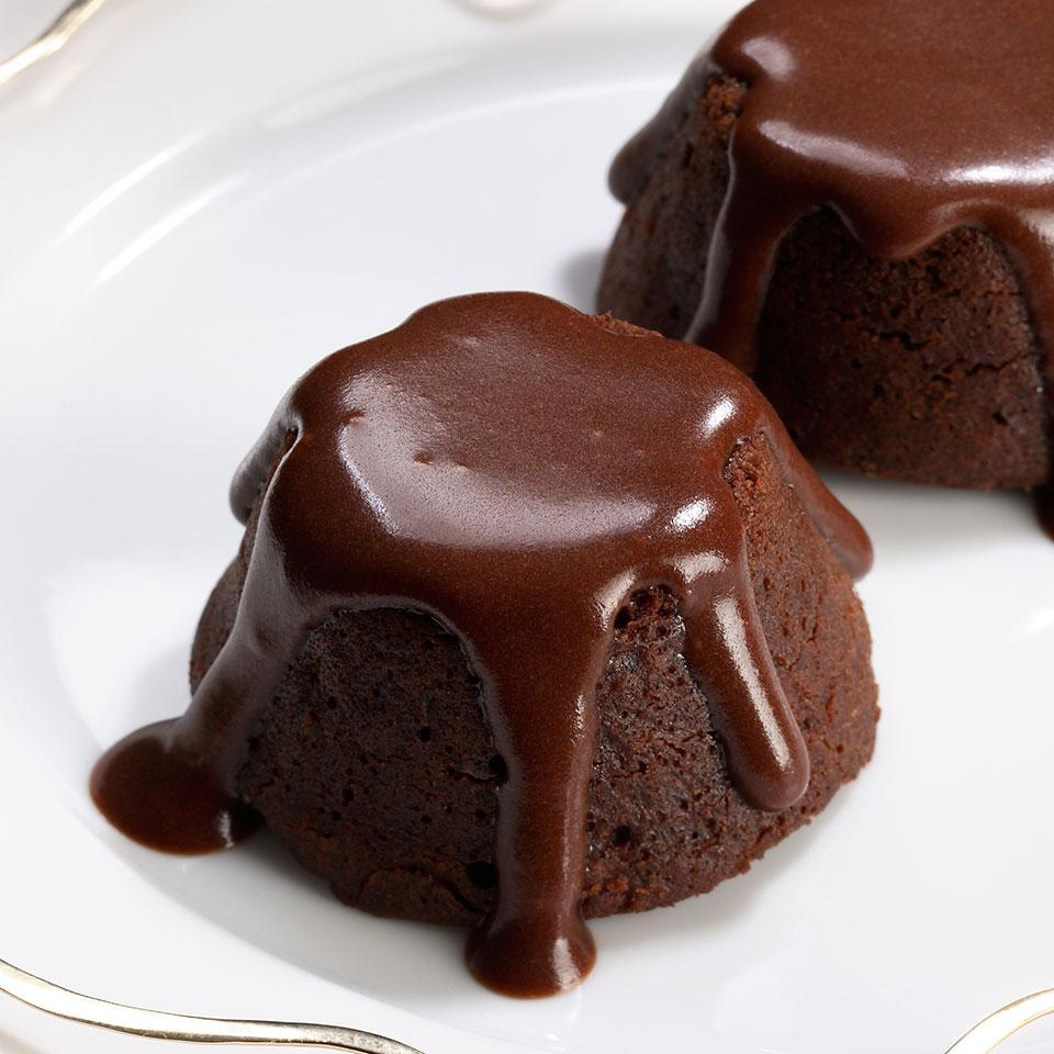 Mini Molten Chocolate Cakes with Mocha Sauce EatingWell Test Kitchen