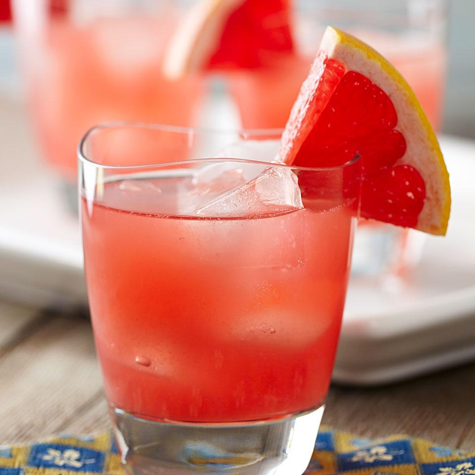 This gorgeous sparkling grapefruit cocktail recipe combines gin, Campari, fresh grapefruit juice and seltzer. The touch of Campari enhances its beautiful red color, but if you prefer a less bitter drink, omit it. Source: EatingWell Magazine, January/February 2013