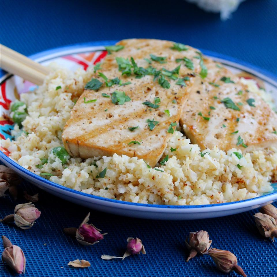 Grilled Teriyaki Tofu with Roasted Cauliflower Rice Buckwheat Queen