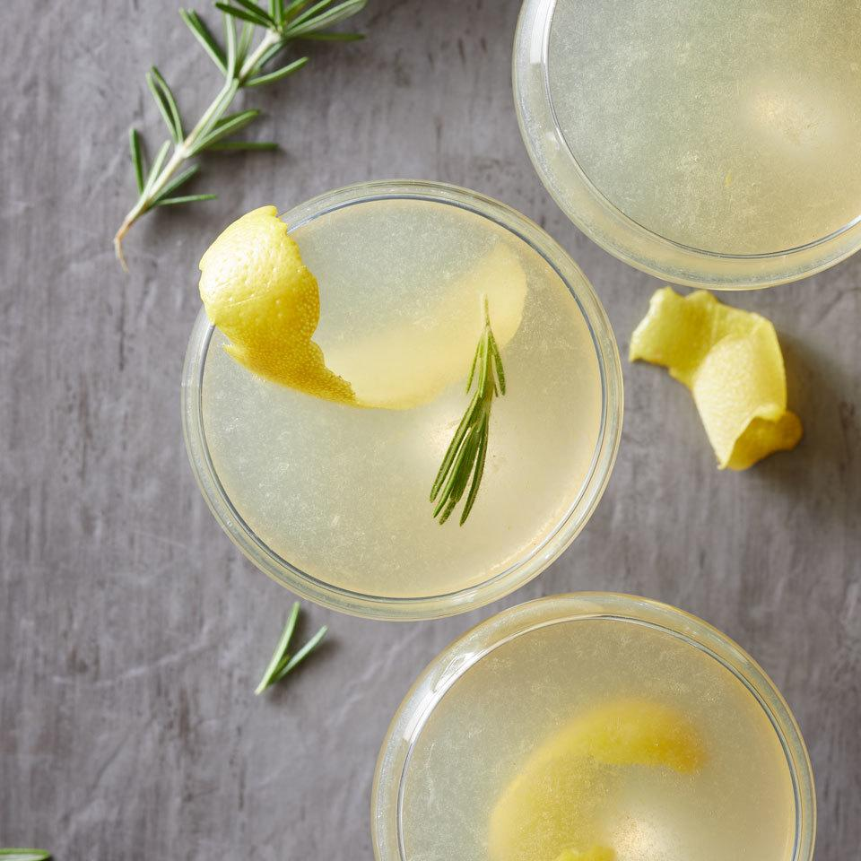 Rosemary and ginger add a flavorful twist to a classic citrusy gin cocktail topped with a little bubbly for a festive libation. Source: EatingWell.com, February 2017