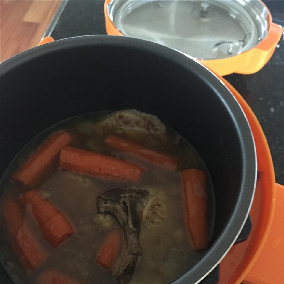 Pressure Cooker Bone-In Pork Chops, Baked Potatoes, and Carrots