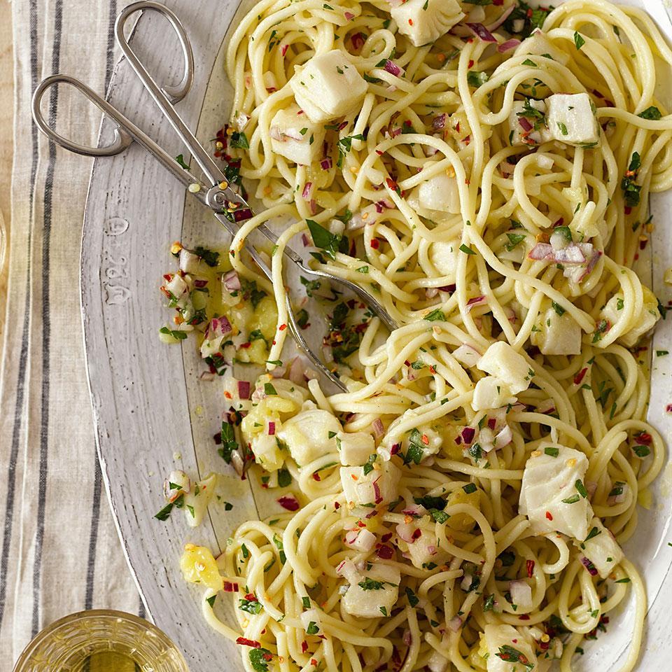 Spaghetti with Halibut & Lemon Giuliano Hazan