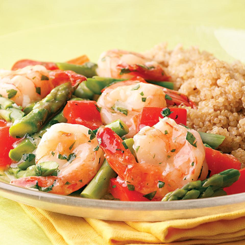 Lemon-Garlic Shrimp & Vegetables EatingWell Test Kitchen