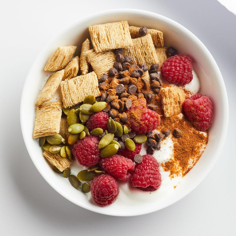 For breakfast, snack or a healthy dessert, try using yogurt instead of milk for your cereal. If making this as a to-go snack, keep the cereal separate and top just before eating. Source: EatingWell Magazine, March/April 2017