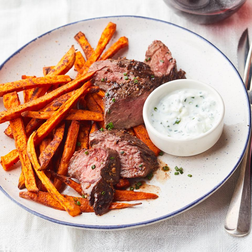 Montreal-Style Hanger Steak & Sweet Potato Frites EatingWell Test Kitchen