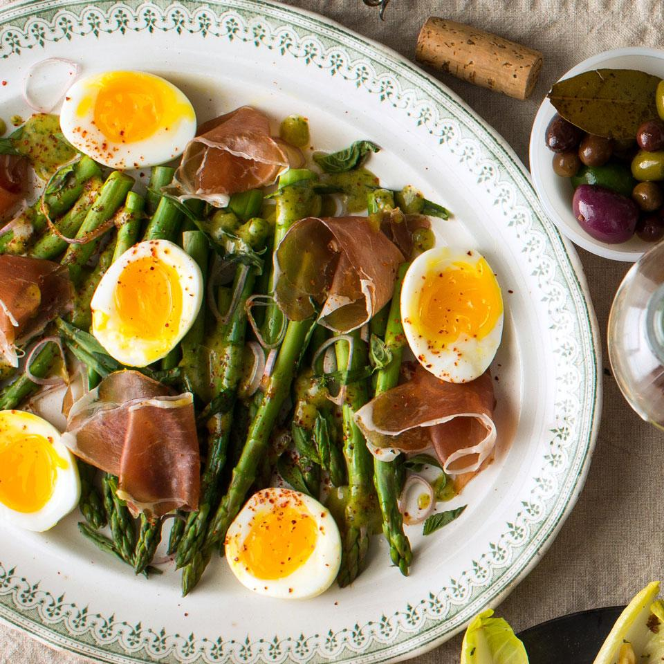 Asparagus Salad with Eggs & Jambon de Bayonne EatingWell Test Kitchen