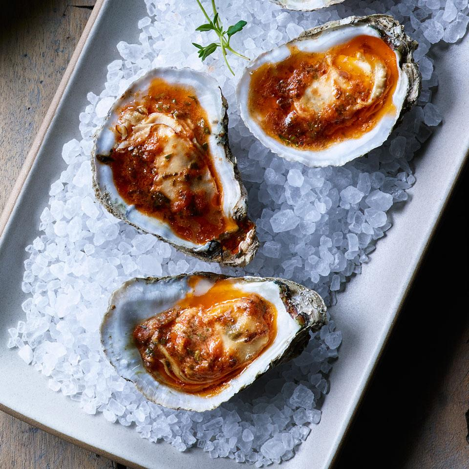 Broiled Oysters with Slow-Roasted Tomato Butter Lisa Weiss
