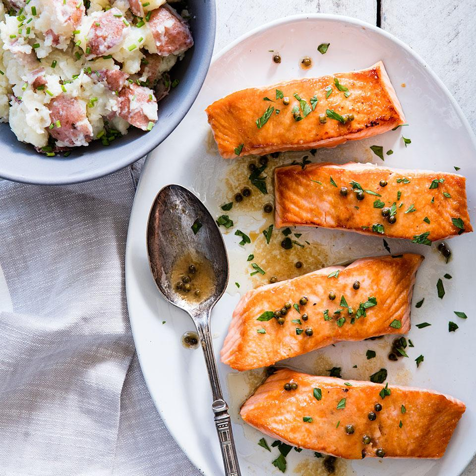 A simple sauce of piquant green peppercorns, lemon juice and butter tops this seared salmon recipe. Green peppercorns come from the same plant as black ones, but are harvested before they mature. Typically packed in vinegar, they have a refreshingly sharp flavor. Look for them near the capers in most supermarkets. Serve with smashed red potatoes and sautéed kale.Source: EatingWell Magazine, September/October 2012