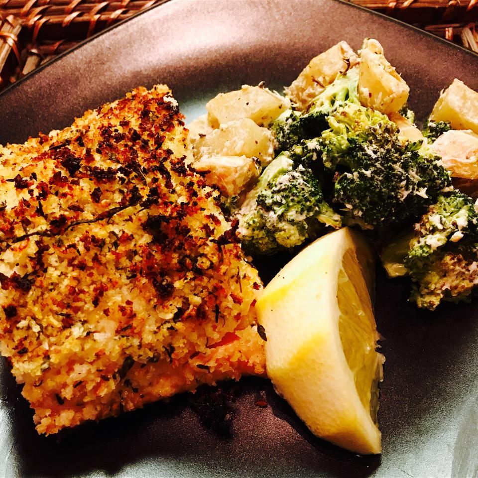 Baked Salmon with Basil and Lemon Thyme Crust Elizabeth