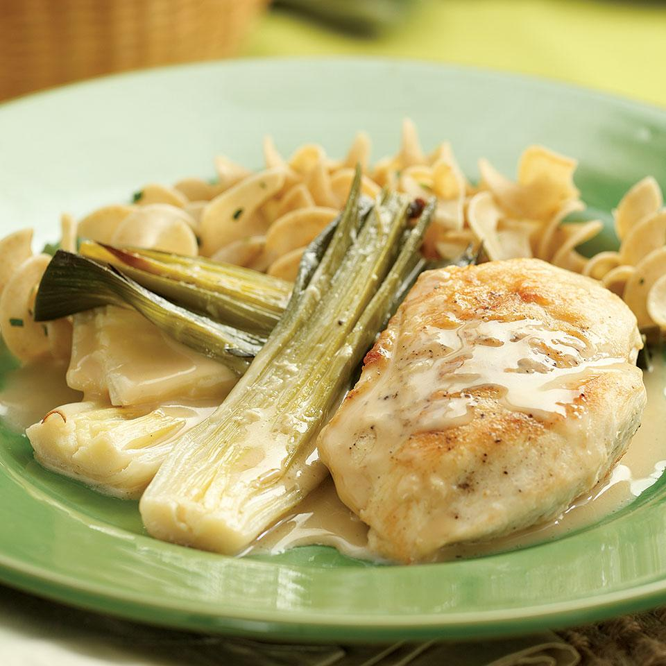 Chicken with Creamy Braised Leeks EatingWell Test Kitchen