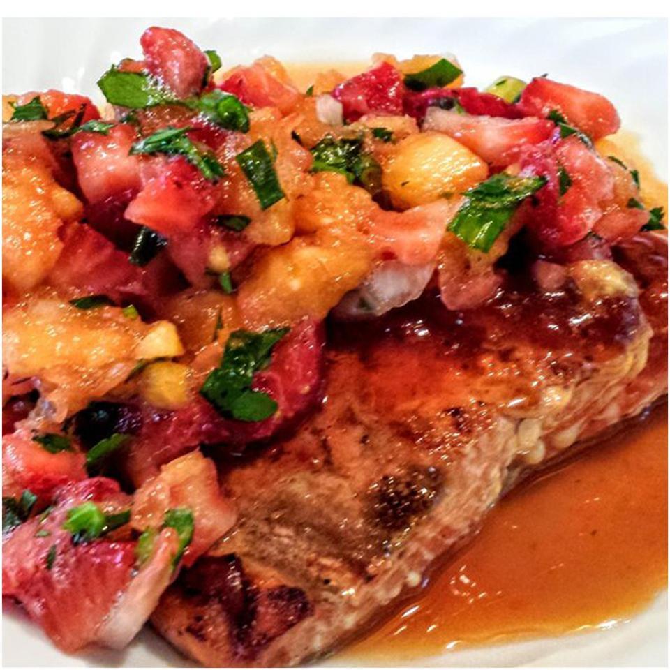 Grilled Hawaiian Salmon with Strawberry Pineapple Salsa KelleyBee