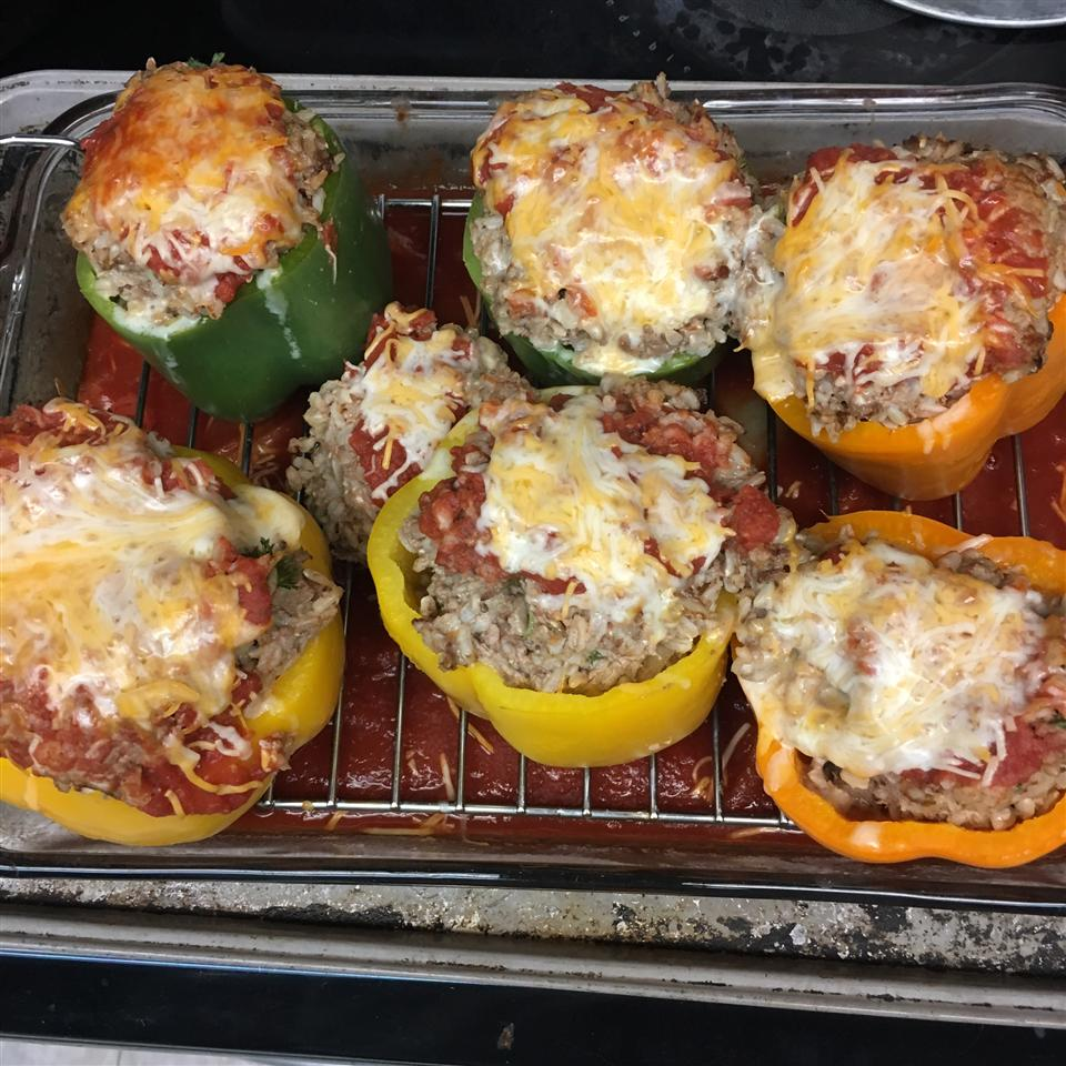 Beef and Rice Stuffed Bell Peppers