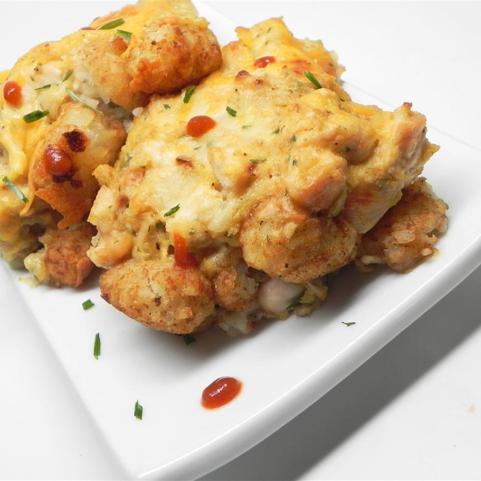 "Chicken strips, gravy, stuffing, cream of chicken soup, and cheese combine with Tater Tots in this comfort food casserole. ""This is a favorite go-to recipe for me that I usually have all the ingredients for in my kitchen and it tastes great,"" says Carolyn."