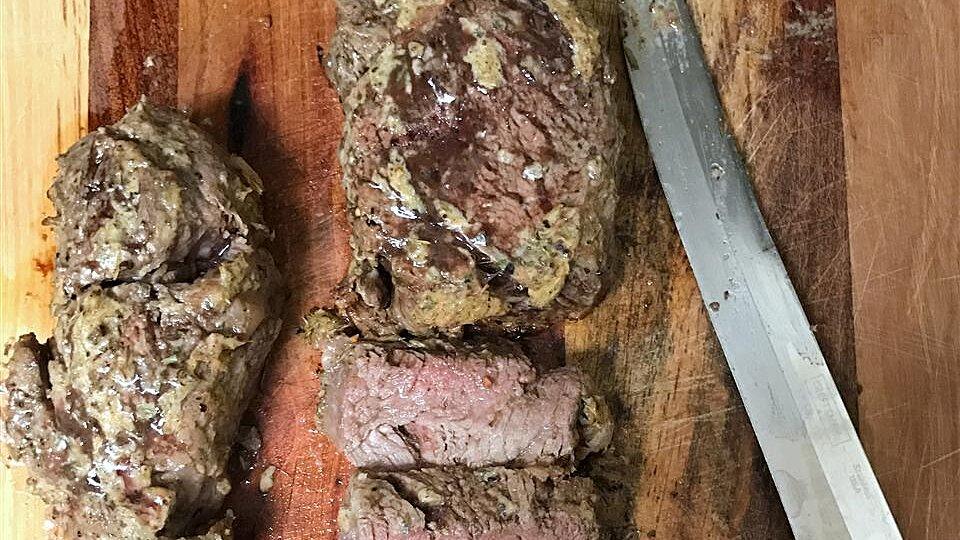 Beef Tenderloin Steaks Topped with Horseradish and Dijon Mustard