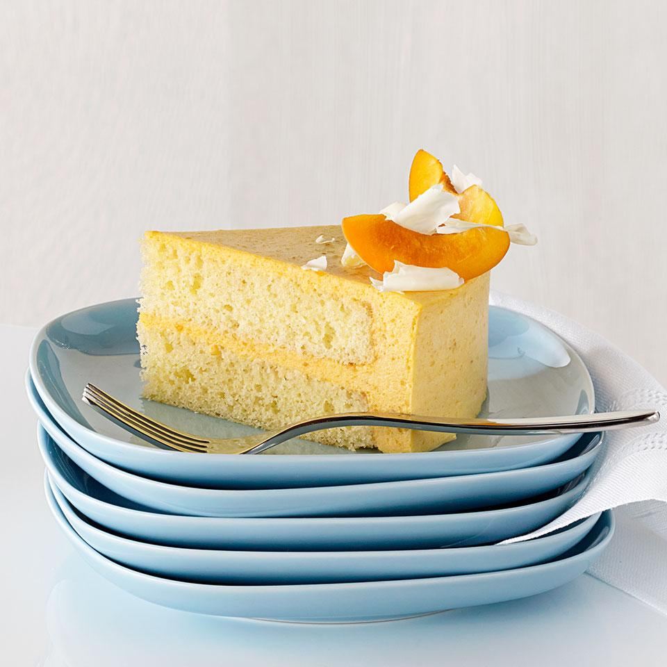 A silky-smooth Bavarian-style apricot cream envelops the golden sponge cake in this truly spectacular healthy cake recipe. The cream is set with gelatin to make it firm enough to hold its shape when unmolded, but the texture is more like a delicate mousse.
