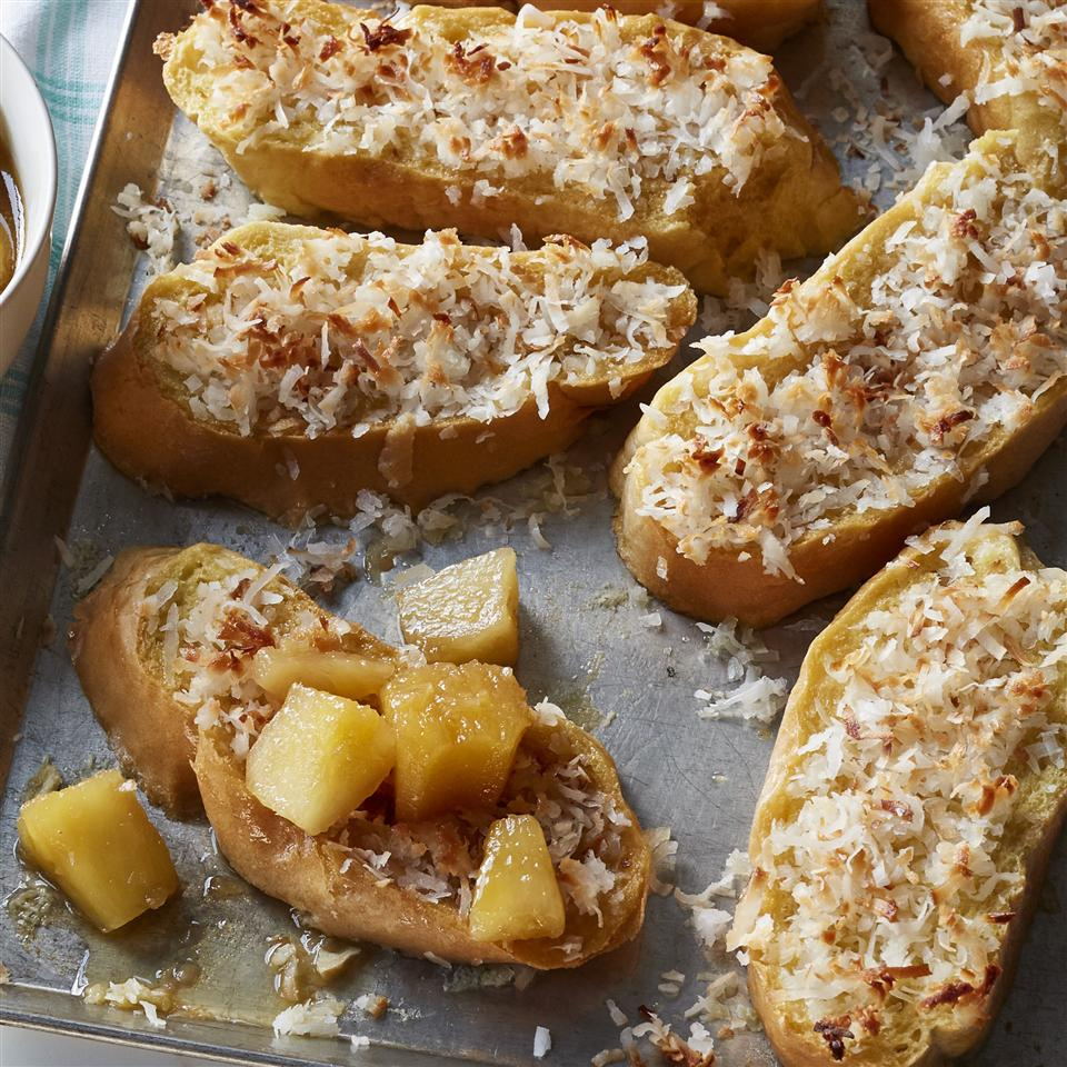 Baked Coconut French Toast with Pineapple-Rum Sauce Allrecipes Magazine