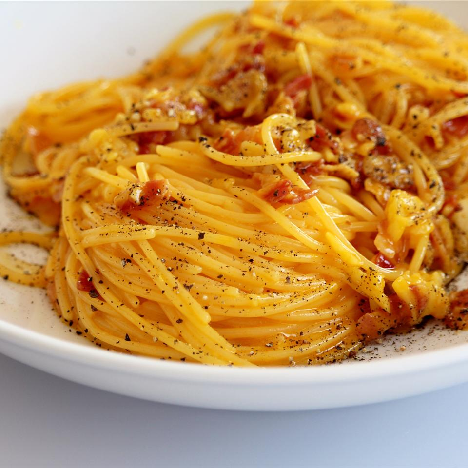 "A ""true Italian"" carbonara recipe, it's ready in about 30 minutes. ""You can't get more authentic than this recipe,"" says Andry008. ""There's no cream, just eggs, and Pecorino Romano cheese, not Parmesan. Top with extra Pecorino-Romano cheese, salt, and pepper."""
