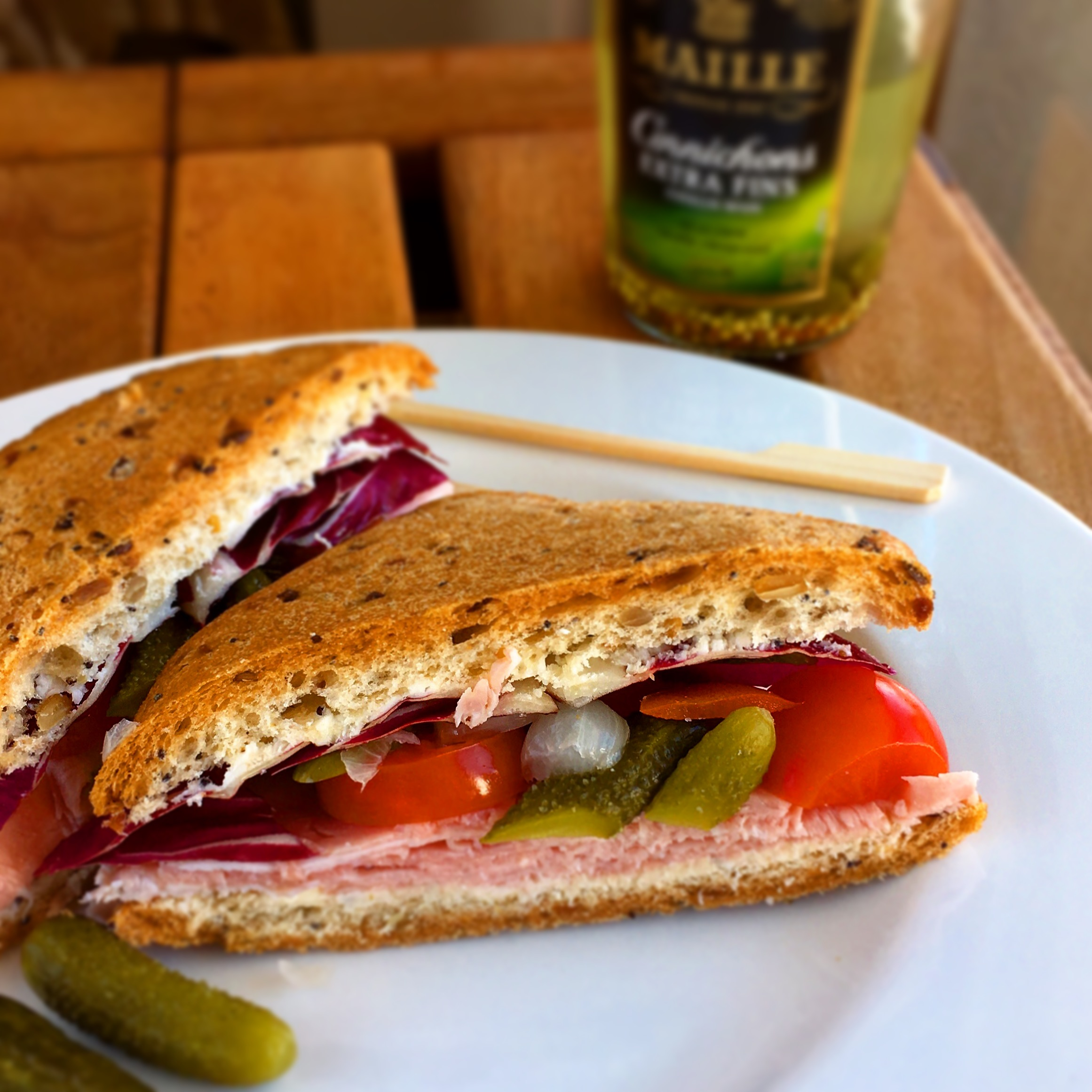 Ham Sandwich with Crunchy Maille® Cornichons