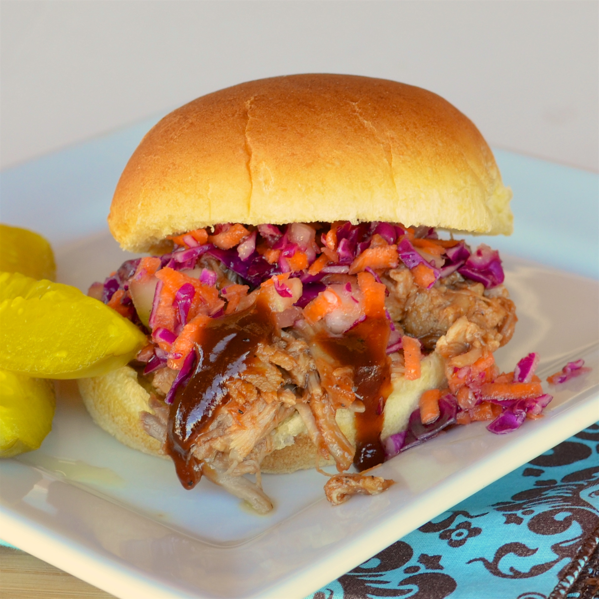 Barbecued Pulled Pork with Sweet & Sour Slaw Lela