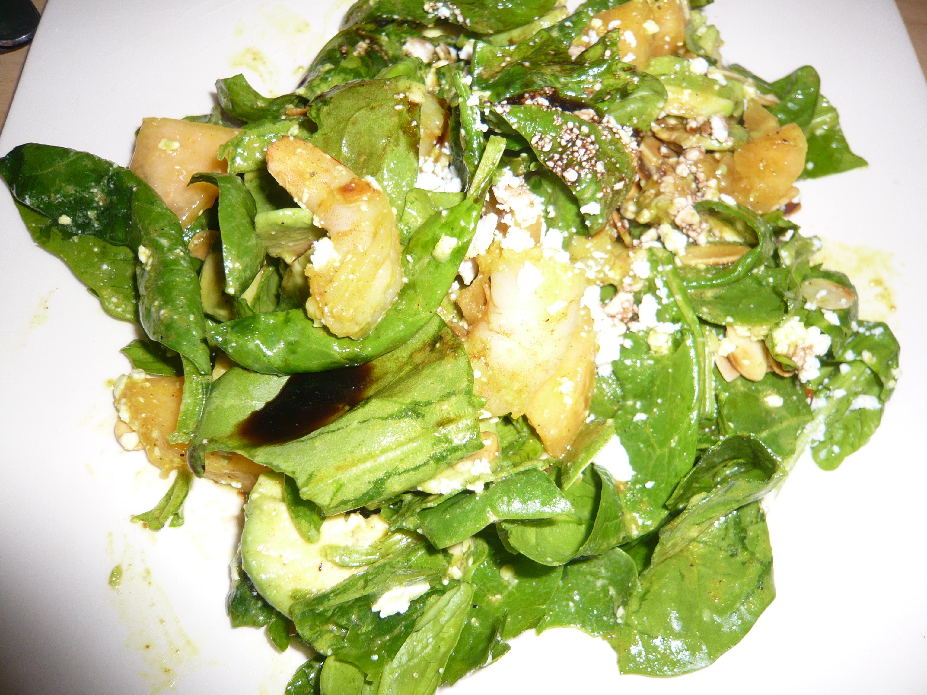 Turmeric Pepper Shrimp Spinach Salad Jan Mowbray