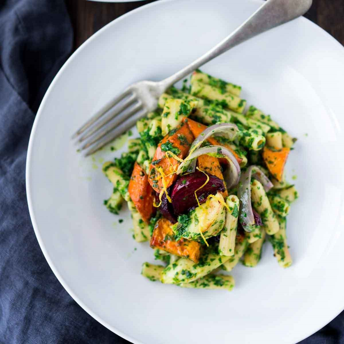 We love using chickpea pasta in this quick and easy dinner recipe, but other bean pastas or whole-wheat noodles are just as good with this fresh and zesty pesto sauce. Source: EatingWell.com, April 2017
