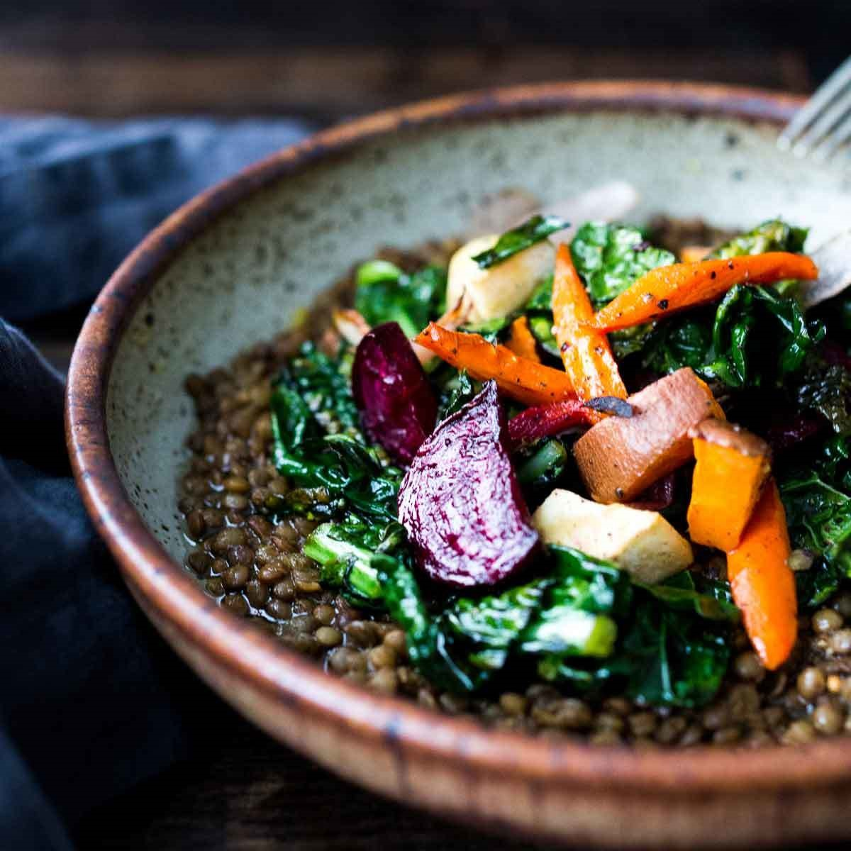 Roasted Root Veggies & Greens over Spiced Lentils Sylvia Fountaine