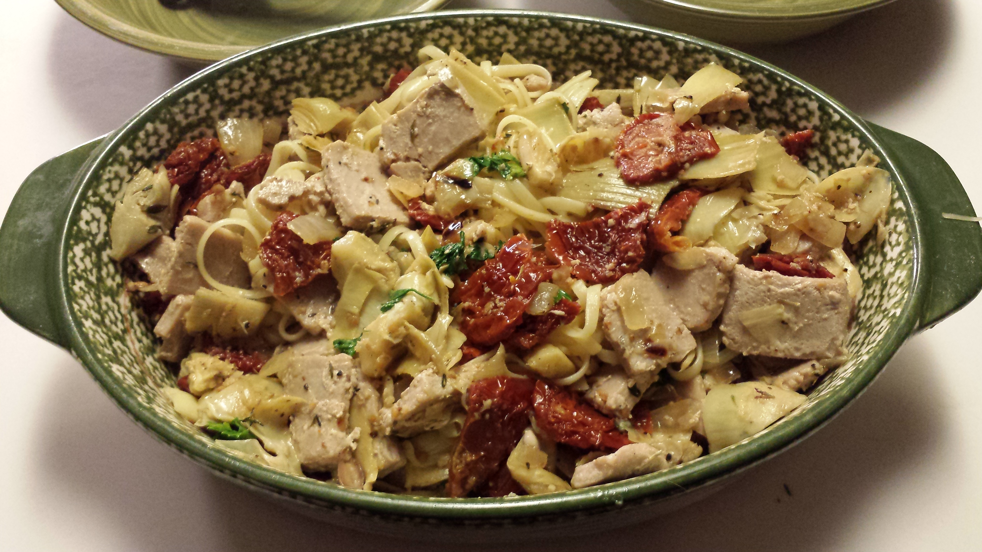 Pasta with Tuna, Sun-Dried Tomatoes, Artichoke Hearts, Lemon, and White Wine James