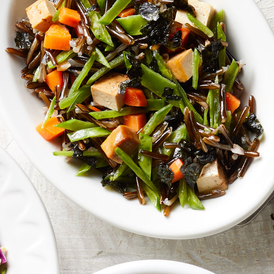 Tofu, Snow Pea & Carrot Wild Rice Salad EatingWell Test Kitchen