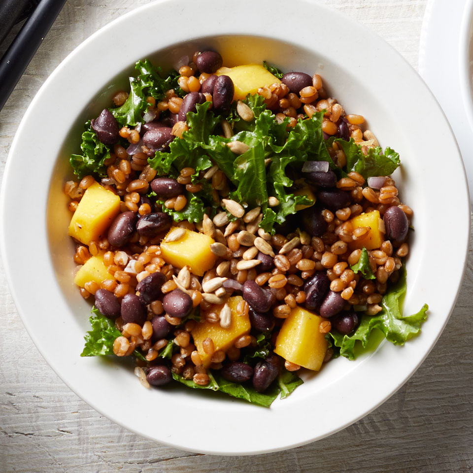 Wheat berries give this healthy grain-salad recipe a toothsome bite. The chopped kale can be swapped for any dark leafy green, such as spinach or chard, if desired. Source: EatingWell Magazine, May/June 2017