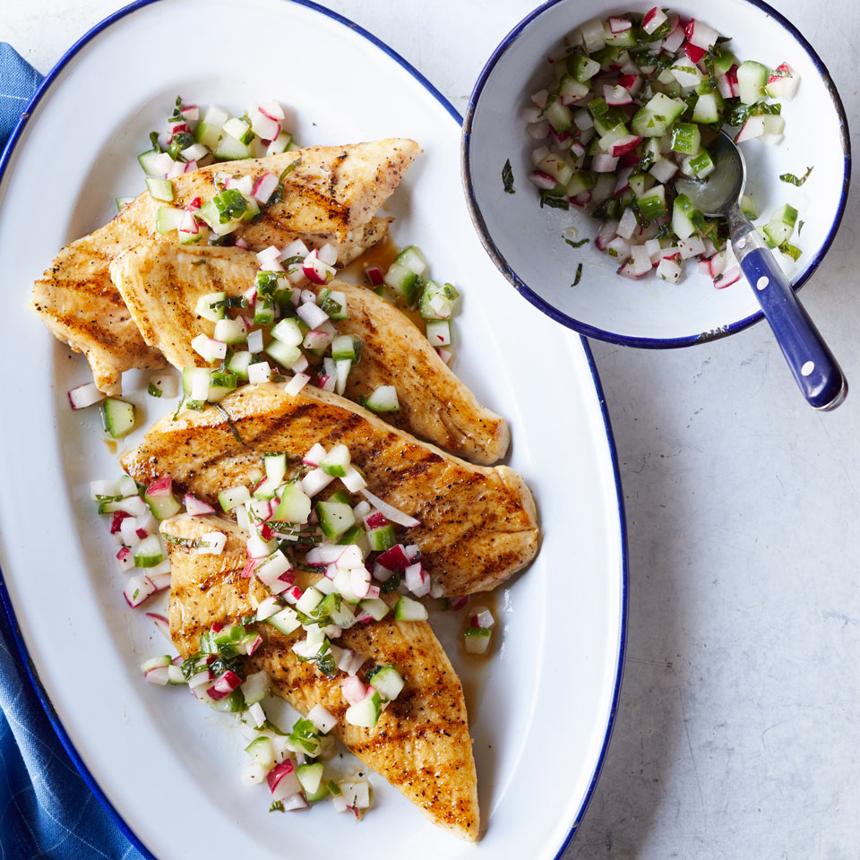 Fresh salsa dresses up grilled chicken--or any other meat for that matter--in this healthy chicken dinner recipe. Want an island vibe? Swap mango for the cucumber and lime juice for the rice vinegar. Source: EatingWell Magazine, May/June 2017