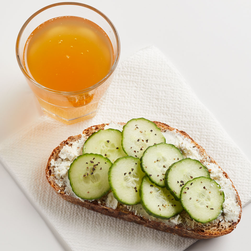 The English cucumber sandwich gets a healthy fiber bump with sprouted whole-grain bread. This easy open-face sandwich recipe is a great healthy snack or packable lunch idea.