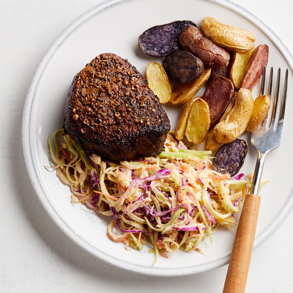 Pastrami-Spiced Beef with Sauerkraut-Broccoli Slaw Breana Killeen