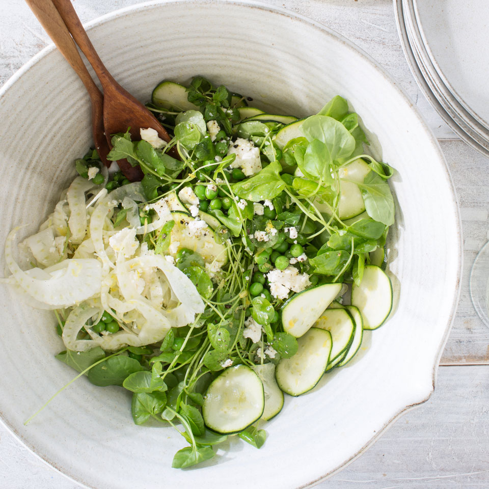 This healthy vegetable salad recipe highlights fresh peas, zucchini, fennel, watercress and mint. Serve alongside a roast chicken or turn it into a dinner salad by adding a soft-boiled egg and some cannellini beans. Source: EatingWell Magazine, May/June 2017