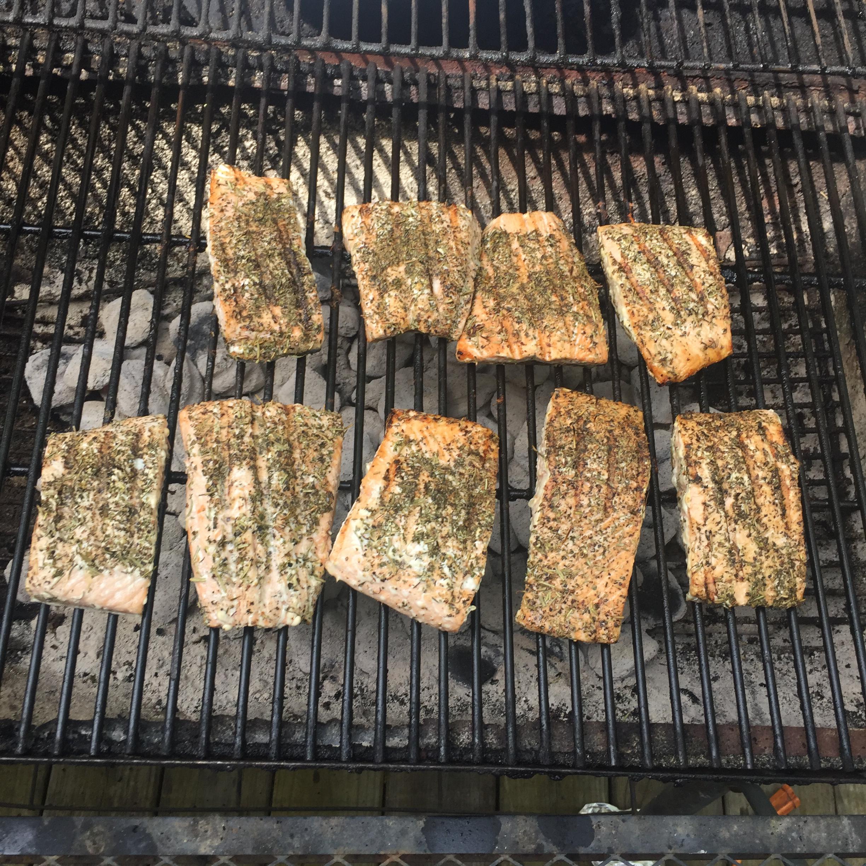 Grilled Salmon Steaks Italian-Style