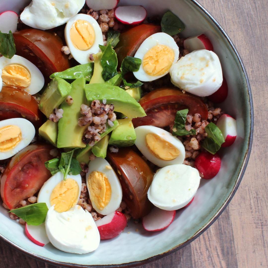 Sorghum, Quail Egg, Avocado, Kumato®and Buffalo Mozzarella Bowl